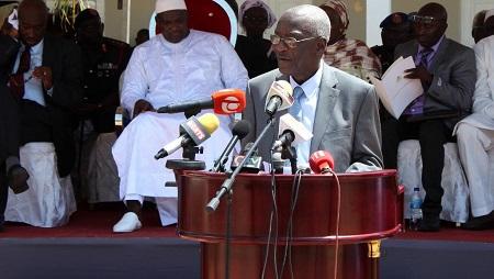 Le président de la Commission vérité et réconciliation, Lamin Sise, lors d'un discours en Banjul en octobre 2019. © Claire BARGELES / AFP