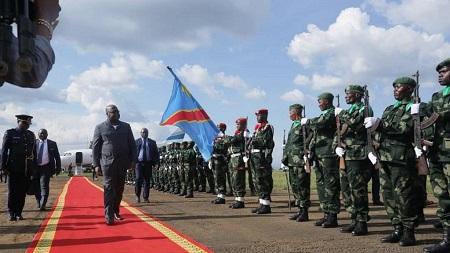 """Le président de la République démocratique du Congo Félix Tshisekedi a déclaré lundi qu'il était """"prêt à mourir"""" pour la paix dans l'est de son pays"""