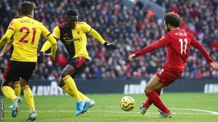 Mohamed Salah porte son compteur à neuf buts en Premier League, pour la saison en cours..GETTY IMAGES