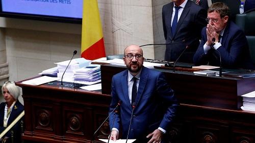 Le Premier ministre  belge, Charles Michel, devant la Chambre des représentants