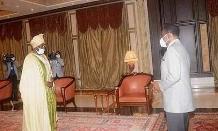 Le Sultan Roi de Bamoun, Sa Majesté Ibrahim Mbombo Njoya et S.E. Obiang Nguema Mbasogo
