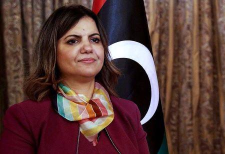 Najla al-Mangoush, ministre des Affaires étrangères du gouvernement d'union nationale de transition (GUN) de la Libye.AFP/MAHMUD TURKIA