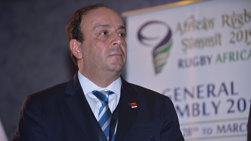 Le nouveau président de Rugby Afrique, le Tunisien Khaled Babbou. Courtesy of Rugby Africa