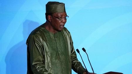Idriss Déby, le président du Tchad, s'exprime à la tribune du sommet climat des Nations unies, le 23 septembre 2019. © REUTERS/Carlo Allegri