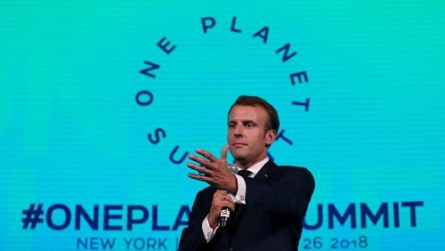 Emmanuel Macron lors du One Planet Summit de New York, le 26 septembre 2018. Le président français sera également présent à Nairobi. © REUTERS/Shannon Stapleton