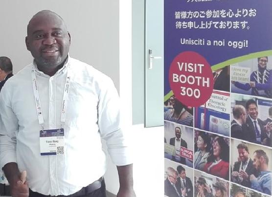Tinno Bang Mbang, éditorialiste et congressiste. Photo prise au WCLC 2019 à Barcelone