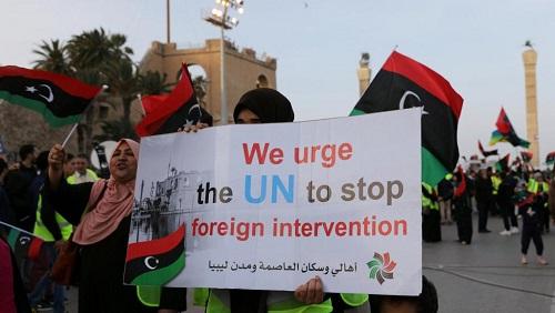 Tripoli, le 19 avril: manifestation contre l'offensive armée du général Haftar contre la capitale libyenne. © REUTERS/Ahmed Jadallah