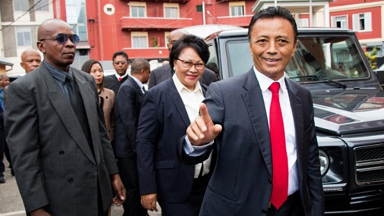 Marc Ravalomanana devant la Haute Cour constitutionnelle, mardi 8 janvier 2019, avant l'annonce des résultats définitifs. © Mamyrael / AFP