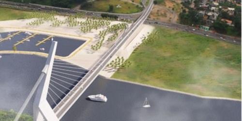 Maquette du futur pont à haubans d'Abidjan. (Crédits : DR)