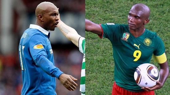 El-Hadji Diouf et Samuel Eto'o ont dénoncé les maux du football africain, le 6 janvier 2019 (photos d'archive). © AFP/Graham Stuart/Karim Jaafar/Montage RFI