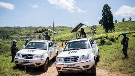 Des véhicules de la Monusco dans l'est de la RD Congo en avril 2019 (image d'illustration). © ALEXIS HUGUET / AFP