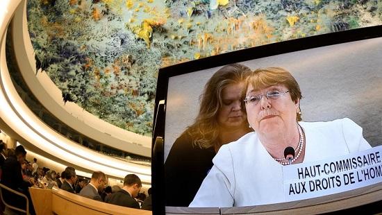 La Haute-Commissaire aux droits de l'homme, Michelle Bachelet, en septembre 2018 à Genève (photo d'illustration). © Fabrice COFFRINI / AFP