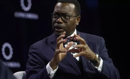 Cette affaire vient compromettre la réélection d'Akinwumi Adesina, premier Nigérian à la tête de la BAD. Riccardo Savi / GETTY IMAGES NORTH AMERICA / Getty Images via AF