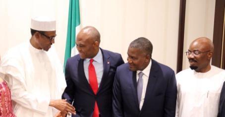 Le président Buhari , Tony Elumelu et Aliko Dangote