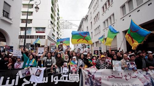 Rabat, le 21 avril 2019. Les manifestants réclament la libération des détenus du Hirak, mouvement de protestation ayant secoué la région du Rif en 2016-2017, après la confirmation de leurs peines allant jusqu'à 20 ans d'emprisonnement. © REUTERS/Youssef Boudlal