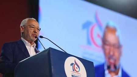 Le leader d'Ennahda Rached Ghannouchi lors d'un discours au 10e congrès de son parti. © REUTERS/ Zoubeir Souissi