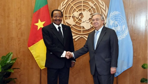 Le Président de la République du Cameroun, Paul Biya et le Secrétaire général de l'ONU, Antonio Guterres