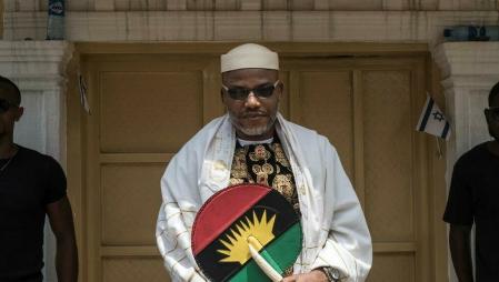 L'activiste spératiste pro-Biafra Nnamdi Kanu le 26 mai 2017 (image d'illustration) AFP - STEFAN HEUNIS