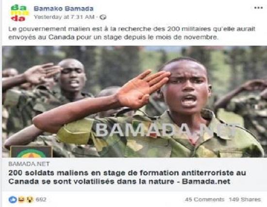 """Le colonel Diarran Koné qualifie ces articles de montage grotesque""""et affirme qu'""""il n'y a pas de soldats maliens concernés par cette situation"""