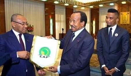 Ahmad AHMAD, président de la CAF en visite au Cameroun est reçu par le président Paul Biya et Samuel Eto'o