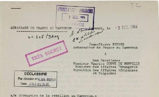 Archives diplomatiques liées à des évènements survenus au Cameroun entre 1957-1969