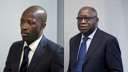 L'ancien ministre de la Jeunesse Charles Blé Goudé (g) et l'ancien président ivoirien Laurent Gbagbo (d), à l'approche de la cour de la CPI, à La Haye. © Peter Dejong / POOL / AFP/ Montage RFI