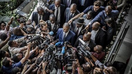 Une conférence de presse du candidat Shadary lors de la présidentielle, à Kinshasa, le 29 décembre 2018. (Image d'illustration) © Luis TATO / AFP