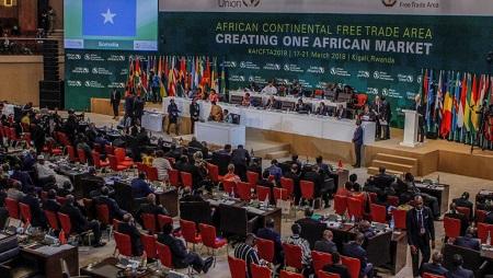 Quarante-quatre pays africains ont signé, mercredi 21 mars 2018, à Kigali, la capitale rwandaise, l'accord établissant la Zone de libre-échange continentale (ZLEC). © © REUTERS/Jean Bizimana