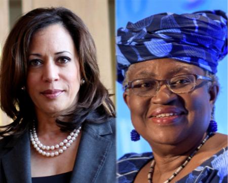 La vice-présidente des États-Unis, Kamala Harris et Ngozi Okonjo-Iweala, directrice générale de l'Organisation mondiale du commerce (OMC). Photo-montage. R.S.A