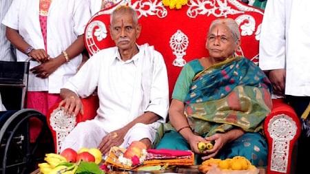 Mangayamma Yaramati, 73 ans, et son mari, Sitarama Rajarao, 82 ans