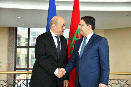 Les ministres des Affaires étrangères, Jean Yves Le Drian de la France et Nasser Bourita du Maroc