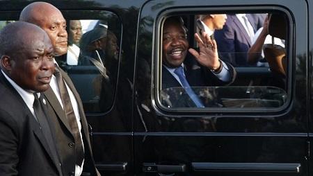Le président gabonais Ali Bongo lors de son retour à Libreville le 23 mars 2019. © Steve JORDAN / AFP