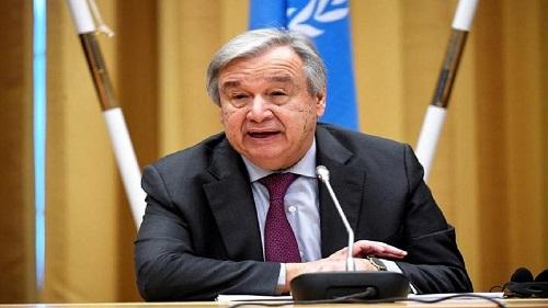Le secrétaire général de l'ONU Antonio Guterres samedi à Addis Abeba