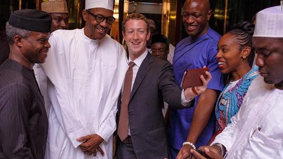 Le président Muhammadu Buhari et le fondateur de Facebook, Mark Zuckerberg