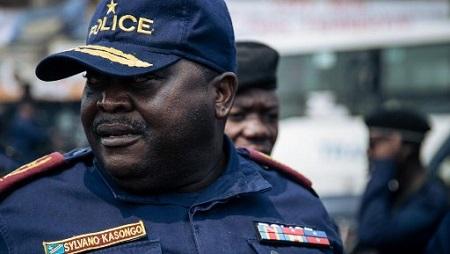 Le général Sylvano Kasongo, chef de la police de Kinshasa, ici le 30 juin 2019. © ALEXIS HUGUET / AFP