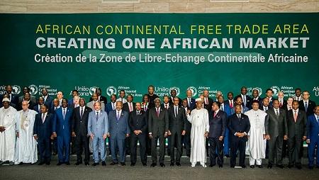 Chefs d'Etats africains et de Gouvernements lors du Sommet de l'Union africaine pour l'établissement de la Zone de libre-échange continentale à Kigali, Rwanda, le 21 mars 2018