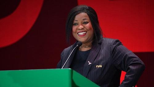 La Sénégalaise Fatma Samoura, Secrétaire générale de la FIFA, le 24 février 2019 en Pologne. Photo by Stuart Franklin - FIFA/FIFA via Getty Images