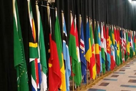 Les drapeaux de  l'Union africaine (UA)