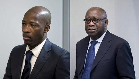 L'ancien ministre ivoirien de la Jeunesse Charles Blé Goudé (g) et l'ancien président Laurent Gbagbo (d), à la cour de la CPI, à La Haye. Peter Dejong / POOL / AFP/ Montage RFI