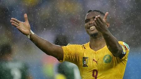 Samuel Eto'o lors de la piteuse Coupe du monde 2014 du Cameroun. PIERRE-PHILIPPE MARCOU / AFP