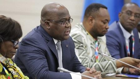 Le président de RDC Félix Tshisekedi, ici à Sotchi, le 23 octobre, pour le sommet Russie-Afrique. © Mikhail Metzel / SPUTNIK / AFP