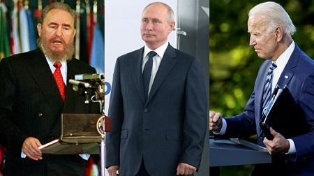 De gauche à droite, Fidel Castro et Vladimir Poutine : deux personnages que n'apprécie guère Joe Biden. : Reuters ; Sputnik/Alexei Druzhinin/Kremlin ; Reuters/Kevin Lamarque