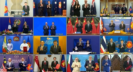L'accord, baptisé RCEP, a été signé à l'issue d'un sommet qui s'est tenu à Hanoï et en vidéoconférence. — © keystone-sda.ch