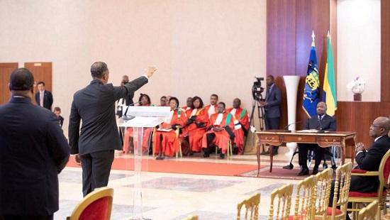 Cérémonie de prestation de serment du gouvernement devant le président gabonais Ali Bongo, le 15 janvier 2019. © Gabon Presidency
