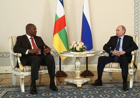Le président Faustin-Archange Touadéra et Vladimir Poutine, président de la fédération de Russie