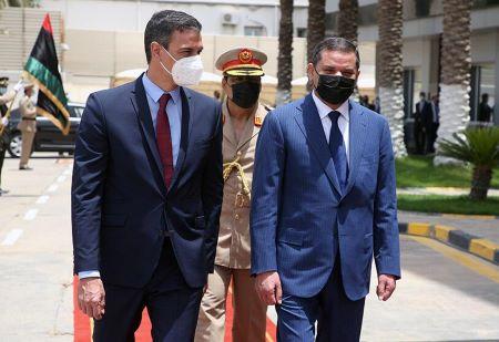 Le Premier ministre libyen Abdulhamid Dbeibeh reçoit le Premier ministre espagnol Pedro Sánchez à Tripoli, en Libye. REUTERS/HAZEM AHMED