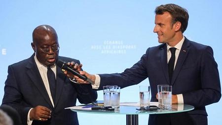 Le président français, Emmanuel Macron et son homologue ghanéen Nana Akufo-Addo, palais de l'Élysée, le 11 juillet 2019. © Ludovic Marin/Pool via REUTERS