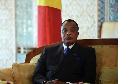 Le président congolais Denis Sassou-Nguesso le 27 mars 2017. STRINGER / AFP