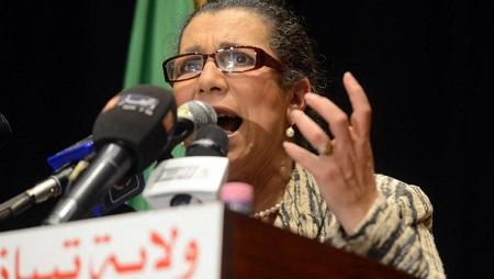Louisa Hanoune, secrétaire générale du Parti des travailleurs, le 8 avril 2014 à Tipaza, dans le nord de l'Algérie. © FAROUK BATICHE / AFP