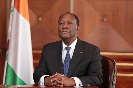Le président Alassane Ouattara lors de son discours devant le Congrès ivoirien.  AFP